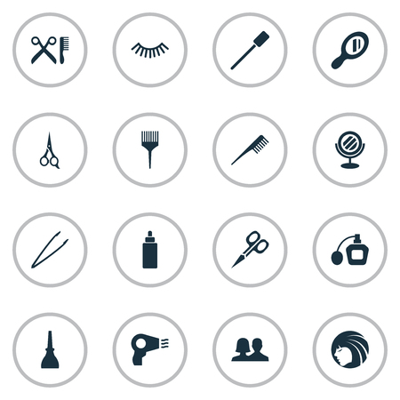 Vector Illustration Set Of Simple Beauty Icons. Elements Customers, Glass, Barber Tool And Other Synonyms Hairdresser, Pincers And Glass. Ilustração
