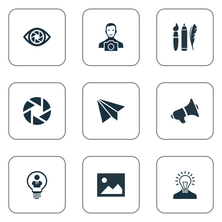 Vector Illustration Set Of Simple Creative Thinking Icons. Elements Creative, Cameraman, Zoom And Other Synonyms Diaphragm, Feather And Megaphone. Illustration