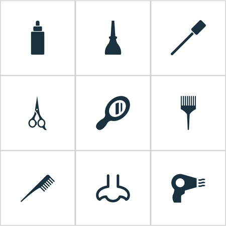 Vector Illustration Set Of Simple Cosmetics Icons. Elements Barber Tool, Nail Polish, Serum And Other Synonyms Dropper, Hair And Comb. Ilustração