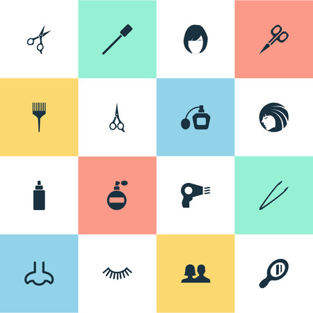 Vector Illustration Set Of Simple Beauty Icons. Elements Glass, Eyelash Brush, Beauty And Other Synonyms Unisex, Couple And Perume.