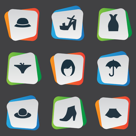 brolly: Vector Illustration Set Of Simple Clothes Icons. Elements Footwear, Hairdressing, Brolly And Other Synonyms Panties, Footwear And Elegant.