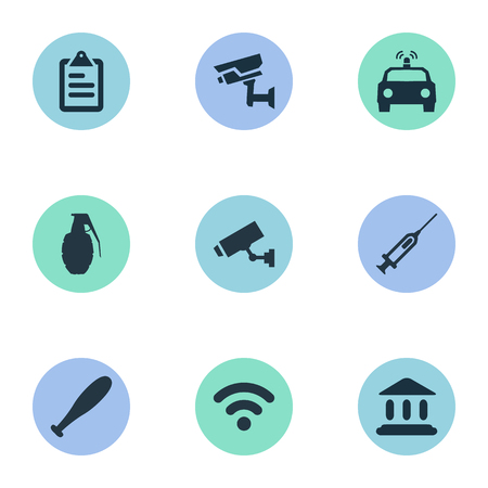 Vector Illustration Set Of Simple Police Icons. Elements Internet, Judicial House, Checklist And Other Synonyms Cctv, Safety And Grenade.