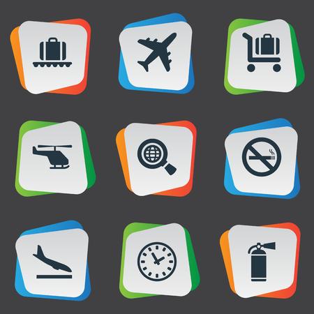 벡터 일러스트 레이 션 간단한 교통 아이콘의 집합입니다. 요소 항공 운송, 비행기 추락, 수하물 카트 및 기타 동의어 소화기, 연기 및 카트.