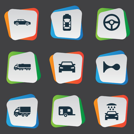 Vector Illustration Set Of Simple Auto Icons. Elements Repair, Shipment, Automobile And Other Synonyms Car, Van And Siren.