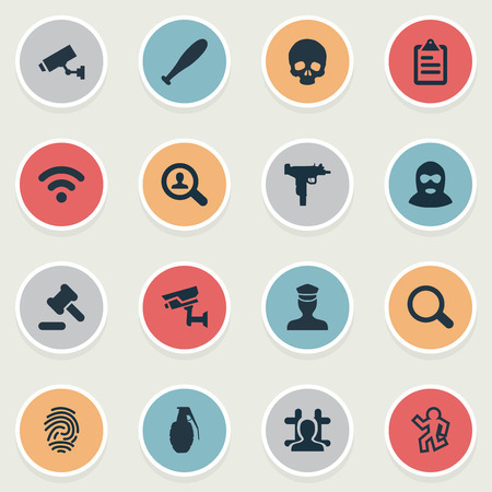 Vector Illustration Set Of Simple Crime Icons. Elements Checklist, Arrested, Investigation And Other Synonyms Alarm, Bandit And Search. Illustration