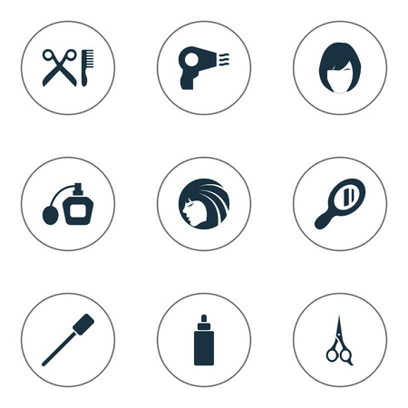 Vector Illustration Set Of Simple Beauty Icons. Elements Glass, Beauty, Blow Dryer And Other Synonyms Salon, Dry And Barbershop.