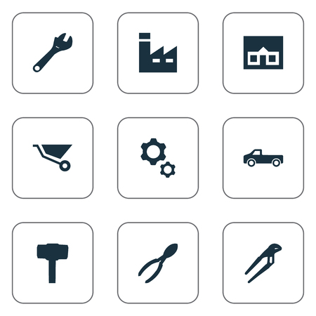 Vector Illustration Set Of Simple Wrench Icons. Elements Construction, Cart, Home And Other Synonyms Instrument, Trolley And Cutters.