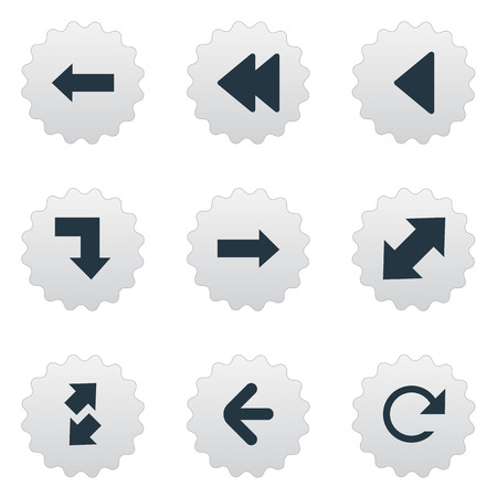 Vector Illustration Set Of Simple Pointer Icons. Elements Rearward, Left Direction , Left Landmark Synonyms Downwards, Raising And Refresh.
