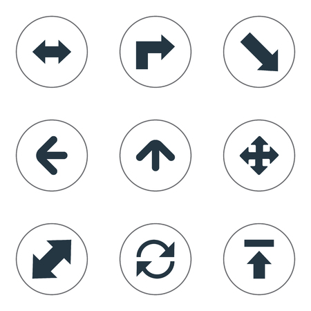 Vector Illustration Set Of Simple Pointer Icons. Elements Crossing Sign, Right Leading Arrow, Straight-Back And Other Synonyms Arrow, Reload And Upward. Фото со стока - 75316127