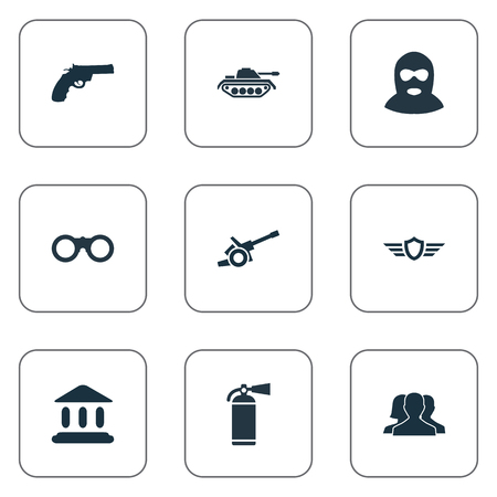 Vector Illustration Set Of Simple Military Icons. Elements Courthouse, Shield, Heavy Weapon And Other Synonyms Heavy, Outcast And Binoculars.