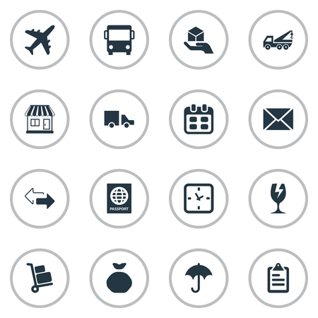Vector Illustration Set Of Simple Delivery Icons. Elements Luggage Bearer, Van, Autobus And Other Synonyms Watch, Message And Sack.
