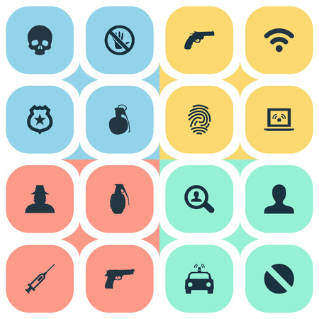 Vector Illustration Set Of Simple Fault Icons. Elements Explode, Police Car, Internet And Other Synonyms Cranium, Weapon And Bomb. Illustration