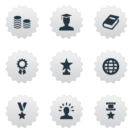 Vector Illustration Set Of Simple Trophy Icons. Elements Avatar, Postgraduate, Victory And Other Synonyms Globe, Victory And Postgraduate.