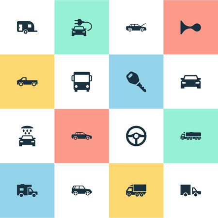 Simple Auto Icons. Elements Vehicle, Driving, Klaxon And Other Synonyms Truck, Wash And Transportation. Illustration