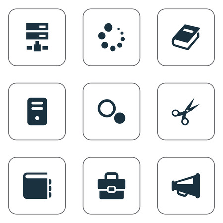 Illustration Set Of Simple Design Icons. Elements System Unit, Loading, List And Other Synonyms Cut, Inventory And Handbag.