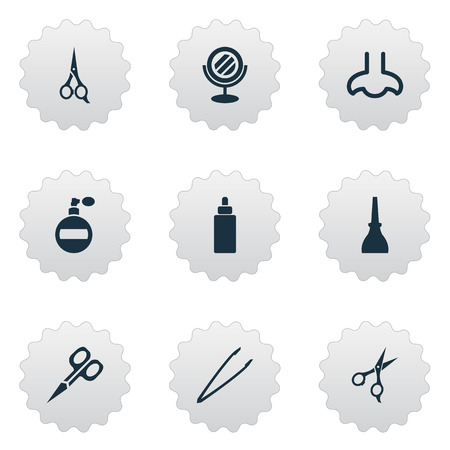 Illustration Set Of Simple Beauty Icons. Elements Nail Polish, Fragrance, Scissors And Other Synonyms Nose, Beauty And Sence.