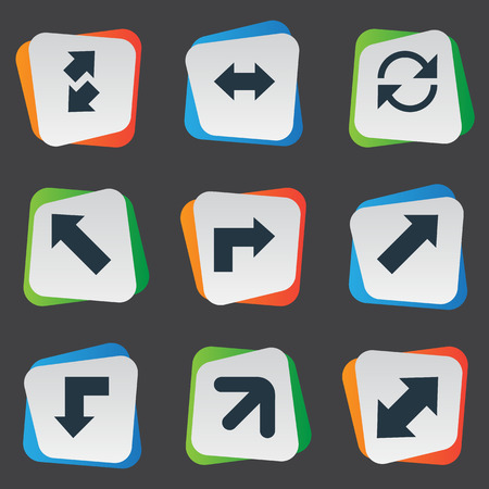 descending: Illustration Set Of Simple Cursor Icons. Elements Right Leading Arrow, Pointer, Straight-Back And Other Synonyms Slanted, Arrow And Downwards. Illustration