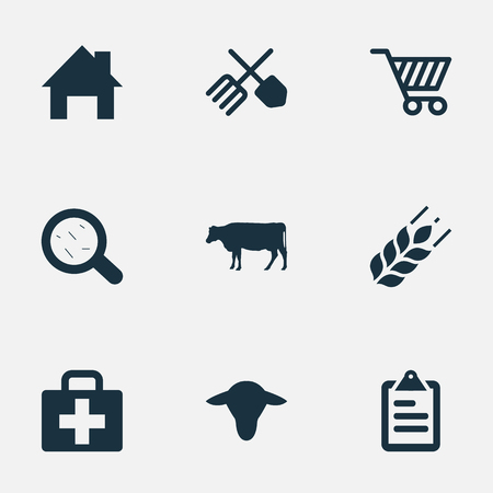 farmstead: Illustration Set Of Simple Harvest Icons. Elements Cart, Horticulture Equipment, Ranch Home And Other Synonyms Small, Virus And Magnifier.