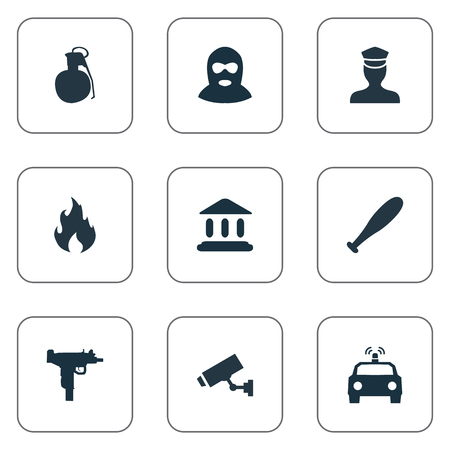 Illustration Set Of Simple Police Icons. Elements Thief, Sheriff, Blaze And Other Synonyms Gangster, Court And Explosive.