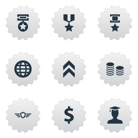 그림 간단한 보상 아이콘의 그림입니다. 요소 성장 다이어그램, 승리, 경비 및 기타 동의어 세계, 챔피언 및 최대. 일러스트