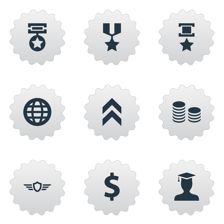 Illustration Set Of Simple Reward Icons. Elements Growth Diagram, Triumphant, Guard And Other Synonyms World, Champion And Up.