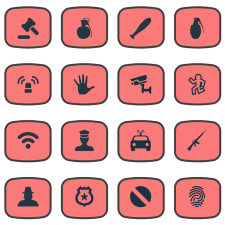 Illustration Set Of Simple Crime Icons. Elements Hammer, Internet, Identification And Other Synonyms Biometric, Gun And Agent.