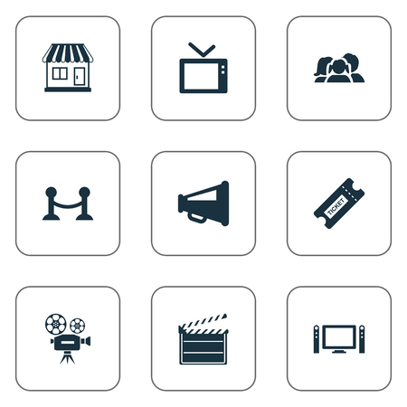 Illustration Set Of Simple Film Icons. Elements Megaphone, Rope Barrier, Home Cinema And Other Synonyms Retro, Television And Montage.