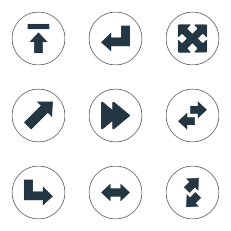 descending: Illustration Set Of Simple Indicator Icons. Elements Crossed Arrows, Left-Right, Pointer And Other Synonyms Upper, Transfer And Slanted.