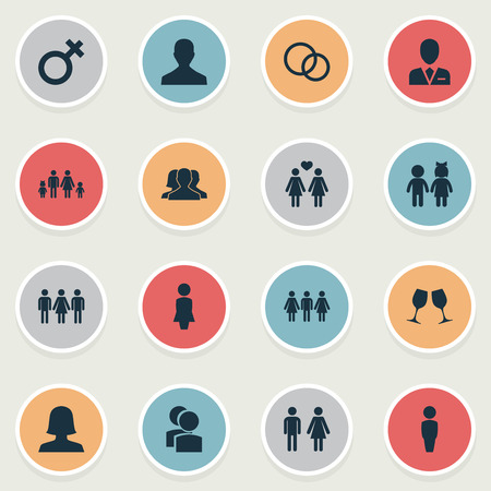 Illustration Set Of Simple Couple Icons. Elements Woman, Madame, Husband Synonyms Wife, Homosexual And Candidate.