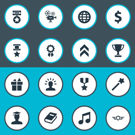 Illustration Set Of Simple Champion Icons. Elements Medal, Present, Postgraduate And Other Synonyms Avatar, Gift And Achieve.