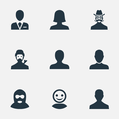 Illustration Set Of Simple Member Icons. Elements Felon, Male User, Internet Profile And Other Synonyms Workman, Mustache And Felon.