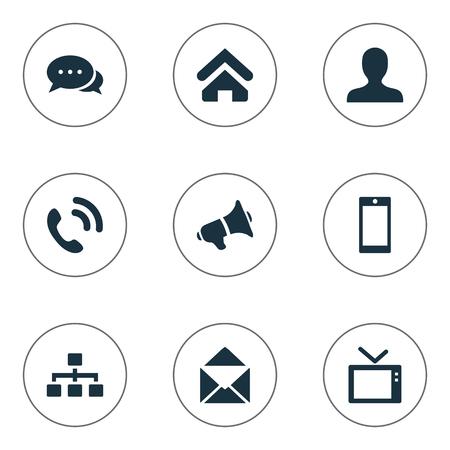 그림 간단한 전송 아이콘의 집합입니다. 요소 확성기, 말하기, 텔리 및 기타 동의어 대화, 전화 및 사용자.