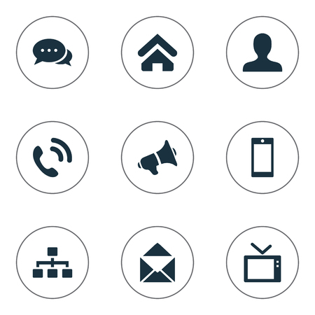 Illustration Set Of Simple Transmission Icons. Elements Megaphone, Talking, Telly And Other Synonyms Dialogue, Telephone And User.