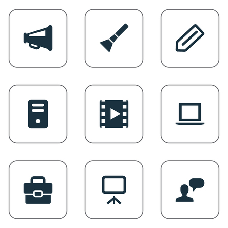 Illustration Set Of Simple Web Icons. Elements Tag, Bullhorn, Movie And Other Synonyms Portfolio, Slideshow And Briefcase.