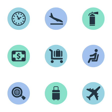 Illustration Set Of Simple Plane Icons. Elements Protection Tool, Travel Bag, Watch And Other Synonyms Fire, Money And Bag.