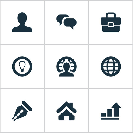 Illustration Set Of Simple Business Icons. Elements Bulb, Anonymous, Progress And Other Synonyms Anonymous, Increase And Pen.