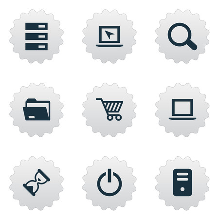 Illustration Set Of Simple Notebook Icons. Elements Data Center, Dossier, Cursor And Other Synonyms Begin, Search And Seek. Illustration
