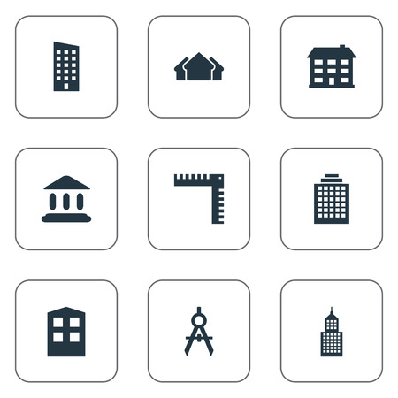 residency: Concept of a  Simple Structure Icons. Elements Floor, Structure, School And Other Synonyms Downtown, Architecture And Direction. Illustration