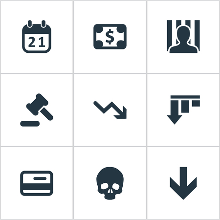 doomed: Vector Illustration Set Of Simple Impasse Icons. Elements Tribunal, Bankroll, Penitentiary And Other Synonyms Downward, Reminder And Cursor.