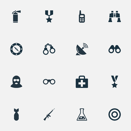 Illustration Set Of Simple Army Icons. Elements Manacles, Target, Nuke And Other Synonyms Air, Spyglass And Aim.