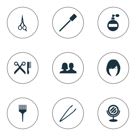 Illustration Set Of Simple Cosmetics Icons. Elements Customers, Barber Tool, Barbershop And Other Synonyms Tweezers, Pincers And Perfume.