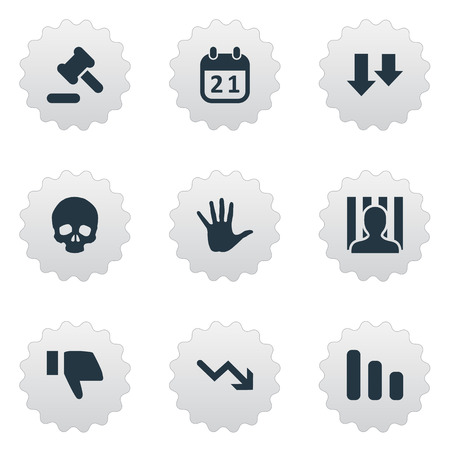 doomed: Vector Illustration Set Of Simple Situation Icons. Elements Tribunal, Agenda, Head Bone And Other Synonyms Court, Business And Decreasing.