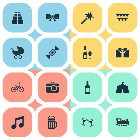 Vector Illustration Set Of Simple Birthday Icons. Elements Circus, Present, Train And Other Synonyms Baby, Sweet And Sound. Stock Vector - 74721295