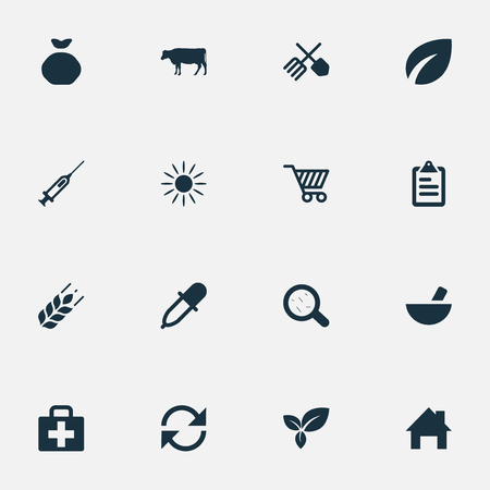 Set Of Simple Agricultural Icons. Elements Wheat, Syringe, Refresh And Other Synonyms Drug, Horticulture And Vaccine.
