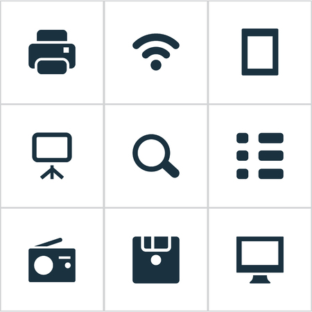 hdtv: Set Of Simple Device Icons. Elements Search, Photocopier, Projector And Other Synonyms Fm, Wireless And Disk.