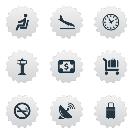 Set Of Simple Travel Icons. Elements Flight Control Tower, Alighting Plane, Cigarette Forbidden And Other Synonyms Warning, Fly And Trolley. 일러스트