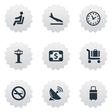 간단한 여행 아이콘의 집합입니다. 요소 비행 제어 타워, 비행기, 담배 금지 및 기타 동의어 경고, 비행 및 트롤리.