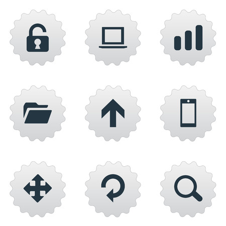 open notebook: Set Of Simple Practice Icons. Elements Magnifier, Arrows, Refresh And Other Synonyms Refresh, Upward And Touchscreen. Illustration