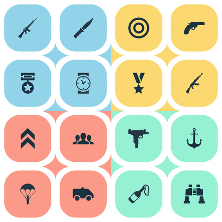 Vector Illustration Set Of Simple Army Icons. Elements Ship Hook, Cold Weapon, Rifle Gun And Other Synonyms Parachutist, Target And Watch. Illustration