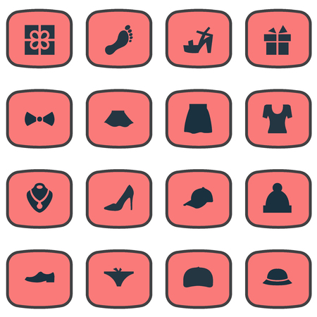 bobble: Vector Illustration Set Of Simple Clothes Icons. Elements Jewelry, Elegance, Footwear And Other Synonyms Footwear, Foot And Baseball.